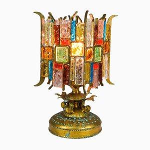 Brutalistische Tischlampe aus Metall & Kristall von Longobard, 1980er