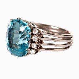 18K Ring aus Aquamarin und Diamant