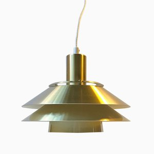 Vintage Danish Brass Tiered Pendant Lamp from Jeka, 1970s