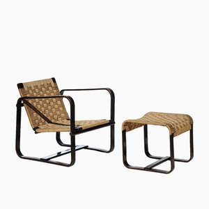 Bocconi Lounge Chair & Ottoman by Giuseppe Pagano for Gino Maggioni, 1940s, Set of 2