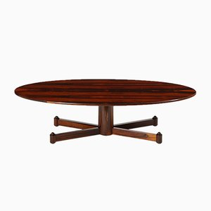 Mid-Century Modern Brazilian Hardwood Oval Coffee Table, 1950s