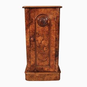 Victorian Burr Walnut Bedside Cabinet