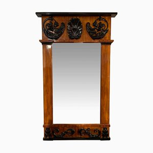 Empire Wall Mirror in Bright Mahogany & Carved Decor, South Germany, 1810s