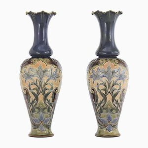 Tall Art Nouveau Baluster Vases by Eliza Simmance for Doulton Lambeth, 1895, Set of 2