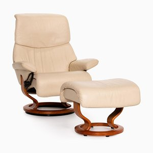 Cream Leather Dream Armchair & Stool from Stressless, Set of 2