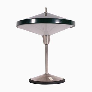 Italian Lacquered, Aluminum Metal & Glass Table Lamp, 1960s