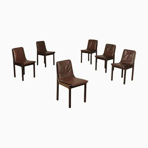Italian Beech, Plywood, Foam & Leatherette Chairs, 1980s, Set of 6