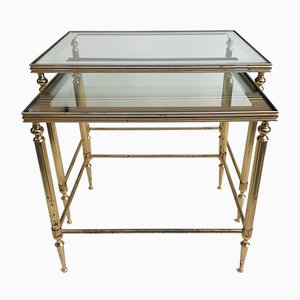 French Brass Nesting Tables, 1950s, Set of 2