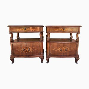 Antique Spanish Catalan Nightstands with Drawers & Low Open Shelf, Set of 2