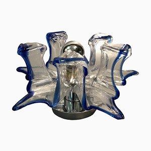 Handgefertigte Italienische Wandlampe aus Muranoglas in Blau & Klar von Effetre Murano, 1960er