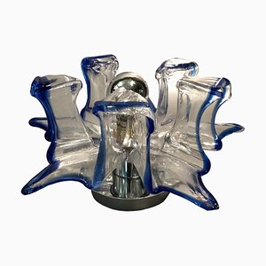 Italian Handcrafted Blue & Clear Murano Glass Wall Light or Flush Mount from Effetre Murano, 1960s
