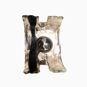 Italian Handcrafted Black Stripe Murano Glass Wall Light or Flush Mount from Effetre Murano, 1960s