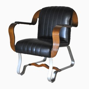 Leather, Curved Bentwood & Satin Steel Executive Chair, 1960s