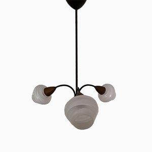 Struttura vintage in metallo laccato nero, teak, paralumi in vetro laccato bianco e lampada da soffitto a tre braccia in ottone, anni '70