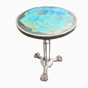 French Art Deco Wrought Iron Patinated Bistro Table, 1930s