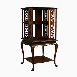 Antique English Edwardian Walnut Revolving Library, 1910