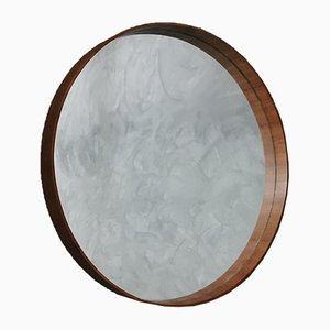 Espejo de pared italiano Mid-Century grande redondo de madera, años 60