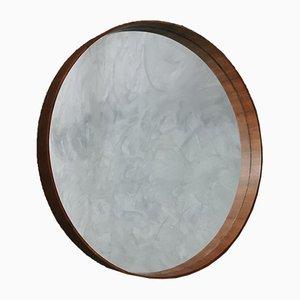 Large Mid-Century Italian Wooden Round Wall Mirror, 1960s