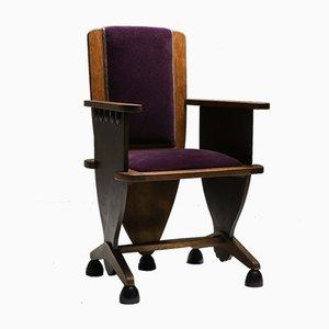 Amsterdam School Armchair in Purple Velour, 1930s