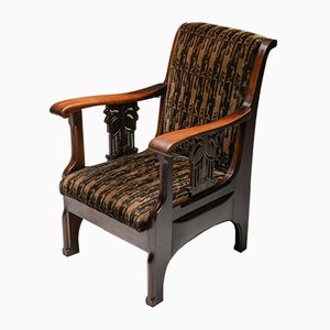 Amsterdam School Armchair in Coromandel Wood and Tuchinksi Fabric, 1920s