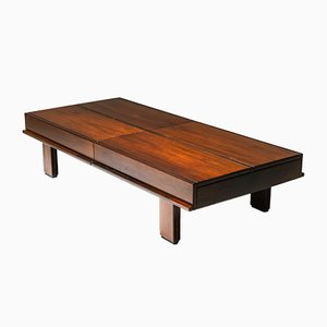 Walnut Coffee Table with Storage by Michelucci, 1970s