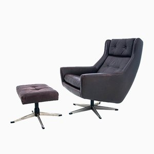 Danish Industrial Leather Armchair & Footstool, 1960s, Set of 2