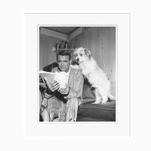 Cary Grant Studying His Script with a Friend Archival Pigment Print Framed in White by Everett Collection