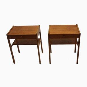 Tables de Chevet Scandinaves Vintage en Teck, 1966, Set de 2