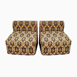 Italian Etro Fabric Lounge Chairs, 1970s, Set of 2
