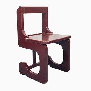 Tavolo e sedie da pranzo Burgundy vintage in legno, anni '70, set di 7