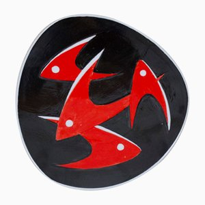 Vintage Black and Red Fish Plate by János Török for Zsolnay