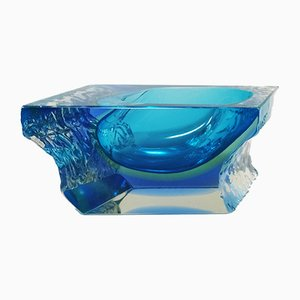 Blue Ashtray or Vide Poche by Flavio Poli for Seguso, 1960s