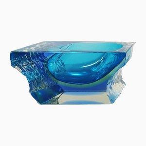 Cenicero o cacerola en azul de Flavio Poli para Seguso, años 60
