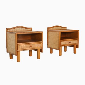 Bamboo & Rattan Bedside Tables by Vivai del Sud, 1970s, Set of 2