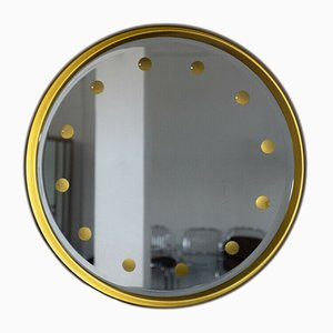 Vintage Round Backlit Mirror with Aluminium Frame, 1960s