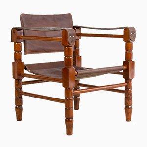 Vintage Restored Leather Safari Style Armchair
