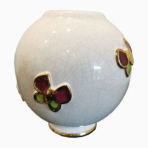 Vintage Butterfly Ball Vase from Longwy