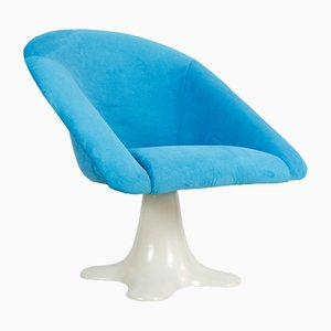Space Age Spinning Chair with Stunning Blue Upholstery