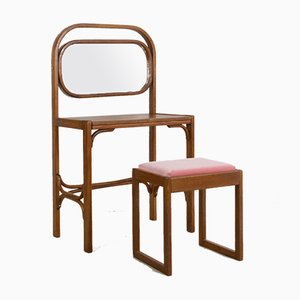 Mid-Century Restored Dressing Table & Small Chair with Powder Pink Upholstery from Thonet