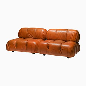 Cognac Leather Camaleonda Sofa by Mario Bellini for B&B Italia / C&B Italia, 1971, Set of 2