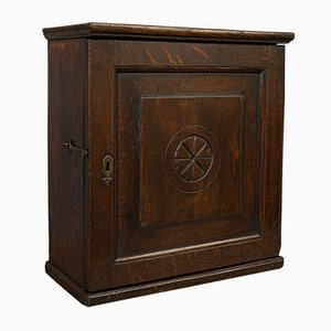 Antique English Georgian Oak Spice Tea Cabinet, 1800s