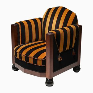 Art Deco Yellow and Black Velvet Club Chair, 1930s