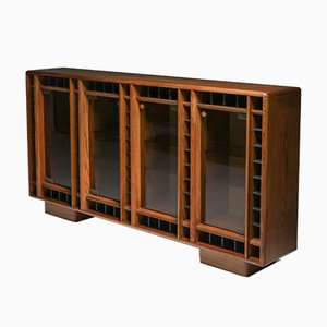 Italian Oak Sideboard with Glass Doors & Space for Bottles, 1970s
