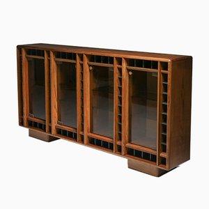 Italian Oak Sideboard with Glass Doors & Space for Bottles, 1970s