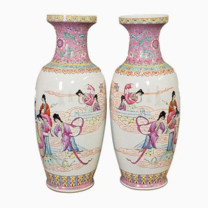 Large Vintage Art Deco Oriental Ceramic Vases, 1940s, Set of 2