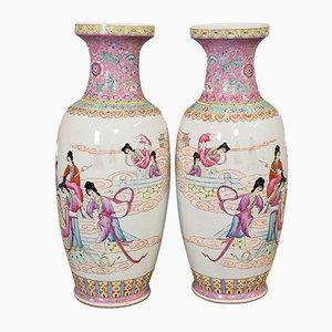 Vasi Art Deco orientali in ceramica, anni '40, set di 2