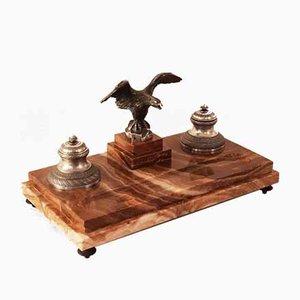 Encrier Antique avec Aigle en Bronze Argenté par M Bertin