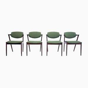 Palisander Modell 42 Esszimmerstühle von Kai Kristiansen, 1960er, 4er Set