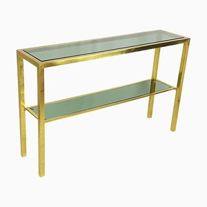 Italian Brass & Smoked Glass Console Table with 2 Shelves, 1970s