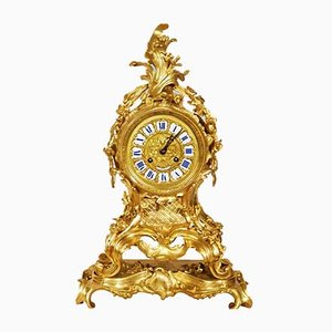 Antique Gilt Bronze Grand Cartel Rocaille Clock from Raingo Frères à Paris